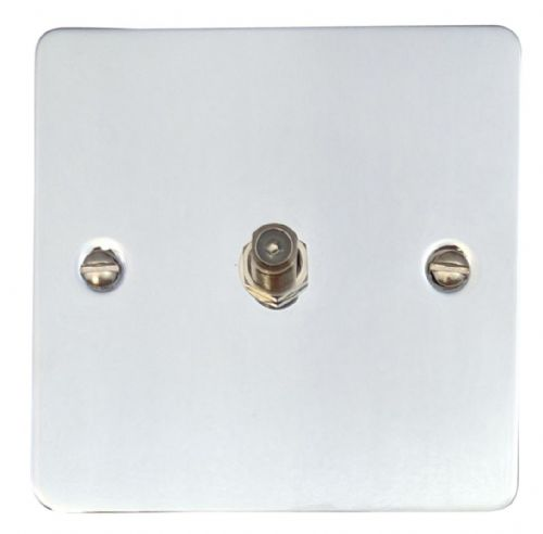 G&H FC37 Flat Plate Polished Chrome 1 Gang Single Satellite Point Socket